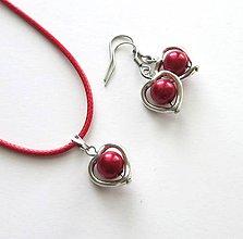 Sady šperkov - Srdiečková sada - červená - 7767460_