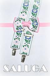 - Folklórne pánske traky a motýlik - folk - ružový - ľudové - 7766248_