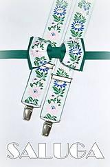 Doplnky - Folklórne pánske traky  + motýlik - zelený - folk - ľudový - 7766249_