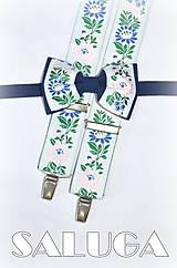 Doplnky - Folklórny pánsky modrý motýlik + traky - folkový - ľudový - 7766319_