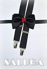 Doplnky - Pánsky čierny motýlik + traky s bordovým, vínovým previazaním - 7766372_