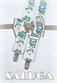 Doplnky - Folklórny pánsky motýlik + traky latte - folkový - ľudový - 7766295_