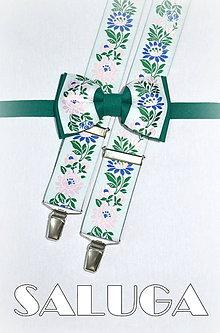 Doplnky - Folklórny pánsky motýlik + traky - zelený - folkový - ľudový - 7766316_