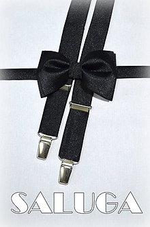Doplnky - Pánske čierne traky + čierny motýlik - 7766330_