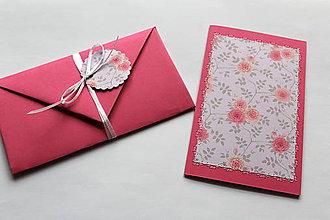 Papiernictvo - Vyšívané pohľadnice - viaceré motívy (svetlo ružová) - 7764136_