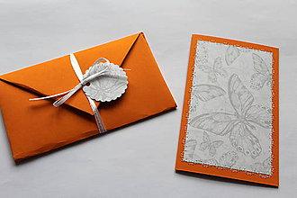 Papiernictvo - Vyšívané pohľadnice - viaceré motívy (oranžová - motýle) - 7764607_