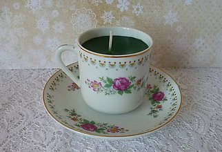 Svietidlá a sviečky - teacup candle / sviečka v šálke - 7765330_