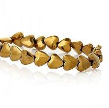 Korálky - Hematitová korálka srdiečko zlatá 6x6mm - 7765440_