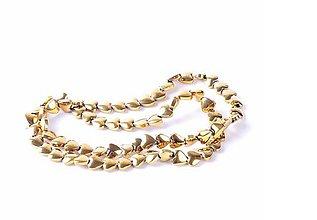 Korálky - Hematitová korálka srdiečko zlaté 10x10mm - 7765446_