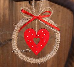 Dekorácie - Bodkované srdce v kruhu natur dekorácia - 7766206_
