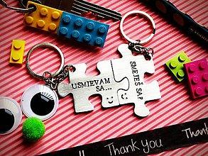 Kľúčenky - SMEJEŠ SA?...usmievam sa :) Cena je za 2ks/ pár puzzle - 7772136_