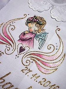 Detské oblečenie - košieľka na krst s anjelikom - ružová/zlatá - 7772828_