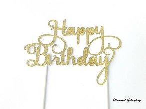 Polotovary - Ozdobný nápi Happy Birthday - 7772896_