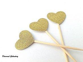Polotovary - Ozdobné srdiečko zlaté - 7772928_