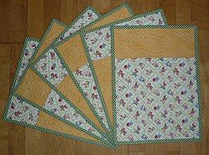 Úžitkový textil - Prestieranie s kvietkami - dva varianty (jantárové) - 7769205_