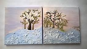 Obrazy - Začarovaná zima (set dvoch obrazov) - 7772899_