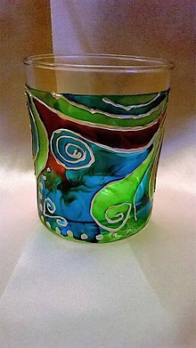 Svietidlá a sviečky - Maľovaný svietnik Lagúna - 7771774_