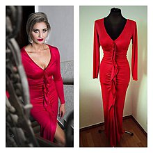 Šaty - Spoločenské šaty s dlhým rukávom a volánom - 7772130_