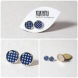Náušnice - Modro - biele Bodečky - 7770591_