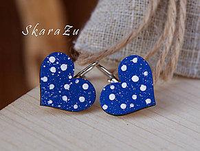Náušnice - Heart dots mini // Blue - 7771274_