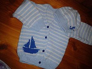 Detské oblečenie - svetrík, čiapka - námorník - 7776671_