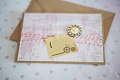 Papiernictvo - Scrapbook pohľadnica - ružová - 7776488_