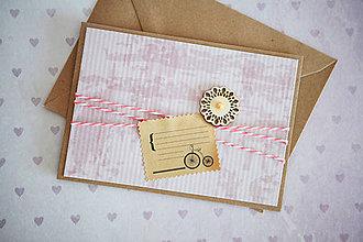 Papiernictvo - Scrapbook pohľadnica - ružová - 7776490_