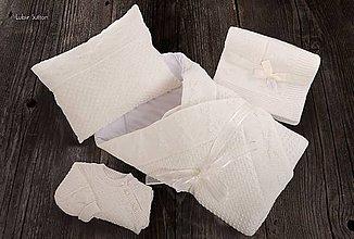 Textil - Výbavička pre Bábätko - zavinovačka, deka, svetrík a vankúšik - smotanová, OEKO-TEX® - 7774312_