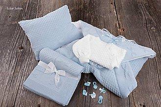 Textil - Výbavička pre Bábätko - zavinovačka, deka, svetrík a vankúšik - modrá, OEKO-TEX® - 7774485_