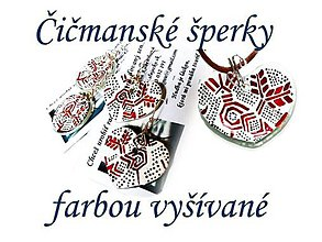 Sady šperkov - Ručne maľované šperky Čičmany - ľudový motív folk/kroj - 7776788_