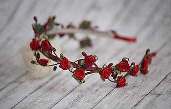 Ozdoby do vlasov - Jemná kvetinová čelenka v červenom - 7778093_
