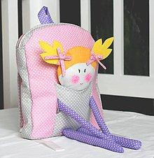 Detské tašky - RUKSAK s BÁBIKOU svetlo-sivo - ružový 2,5r. - 7778293_