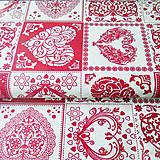 Textil - bordové srdiečka, zmesová bavlna, šírka 140 cm, cena za 0,5 m - 7774670_