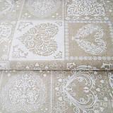 Textil - prírodné srdiečka, zmesová bavlna, šírka 140 cm, cena za 0,5 m - 7774716_