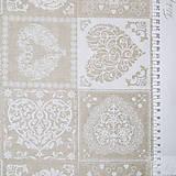Textil - prírodné srdiečka, zmesová bavlna, šírka 140 cm, cena za 0,5 m - 7774717_