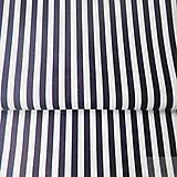 - 100 % bavlna tmavomodré pásiky, šírka 140 cm, cena za 0,5 m - 7774783_