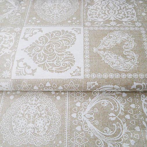 prírodné srdiečka, zmesová bavlna, šírka 140 cm, cena za 0,5 m