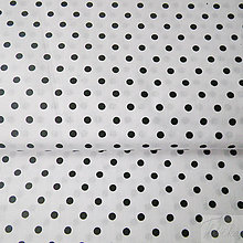 Textil - bielo-čierne bodky, 100 % bavlna, šírka 140 cm, cena za 0,5 m - 7774777_