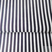 Textil - 100 % bavlna tmavomodré pásiky, šírka 140 cm, cena za 0,5 m - 7774783_