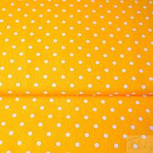 Textil - oranžové bodky, 100 % bavlna, šírka 140 cm, cena za 0,5 m - 7774794_