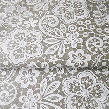 Textil - tmavosivá kvetovaná výšivka, bavlnená látka 50 x 140 cm - 7774815_