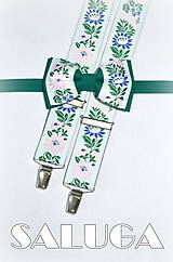 Doplnky - Pánsky folklórny motýlik + traky - folk - zelený - krojový - 7776009_
