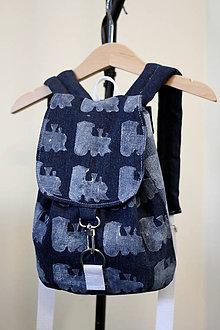 Detské tašky - Denim batoh s vláčikom - 7774363_
