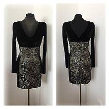 Šaty - Krátke spoločenské šaty s dlhým rukávom a brokátom - 7774276  01053c83e3f