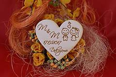 Drevená svadobná magnetka ako vyslužka hosťom  92