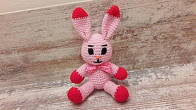 Hračky - malý zajko ružovo/červený - 7777673_