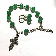 Sady šperkov - Rosary Green Jade Bracelet and Earrings / Ruženec a náušnice so zeleným jadeitom - 7778724_