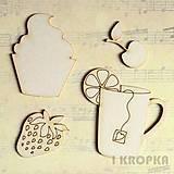 - Výrez Kuchyňa - Pohár a koláčik, 4ks - 7781834_