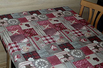 Úžitkový textil - Obrus Patchwork bordó - 7781413_