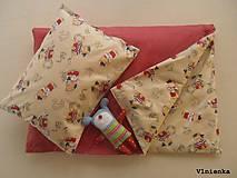 Textil - Obojstranné obliečky bavlnené 100 x 140 / 40 x 60 cm Macko námorníček a Bodky červená - 7779726_